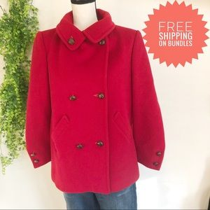 Diane Von Furstenberg Vintage Red Wool Pea Coat